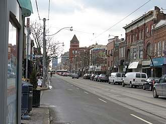 Riverdale, Toronto - Riverside, looking west along Queen Street East towards Broadview Avenue and the Broadview Hotel