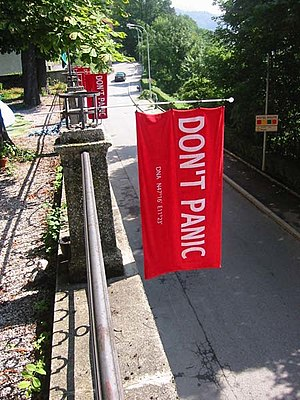 "Phrases from The Hitchhiker's Guide to the Galaxy - Towels in Innsbruck with the words ""DON'T PANIC"" on Towel Day"