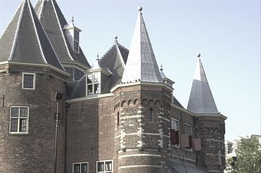 View of the towers of De Waag, Amsterdam