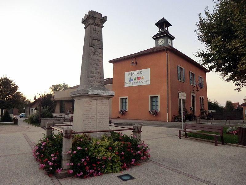 Town hall and war memorial of Saint-André-de-Corcy.