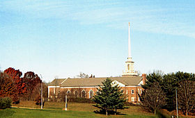 The exterior and spire of Towson United Methodist Church