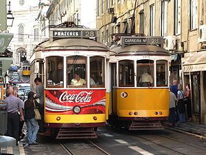 Trams in Lisbon - Two Remodelado trams on line 28.
