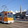 Tram in Sofia in front of Central Railway Station 2012 PD 079.jpg