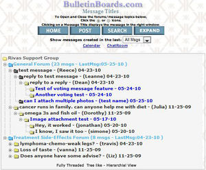View of fully threaded message board