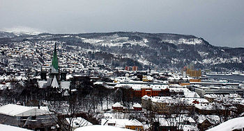 Panoramic view of Trondheim in the winter.