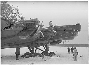 Tupolev TB-3 - TB-3 after emergency landing during the Winter War in March, 1940