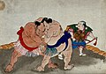 Two sumo wrestlers with a referee (?). Colour woodcut Wellcome V0046786.jpg