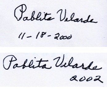 Two versions of Pablita Velarde%27s signature