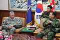U.S. Army Lt. Gen. John Johnson, left, the commanding general of the Eighth U.S. Army, visits with South Korean army Gen. Lee Chul-hyee, right, the commanding general of the 2nd Operational Command (2OC), at 110309-A-AP548-006.jpg