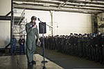 U.S. Navy Capt. Greg Fenton, the commanding officer of the aircraft carrier USS George Washington (CVN 73), addresses crew members during an all-hands call in the ship's hangar bay Jan. 3, 2014, in Yokosuka 140103-N-BX824-004.jpg