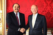 UK Foreign Secretary William Hague met Qatari Foreign Minister His Excellency Dr Khalid bin Mohamed al-Attiyah on 23 August 2013 in London. (9577171774).jpg