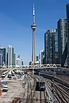 UP Express and CN Tower 27184623855.jpg