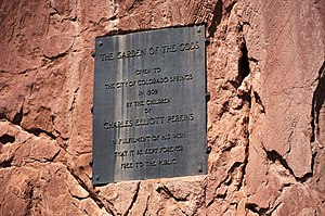 Charles Elliott Perkins - Plaque in the Garden of the Gods commemorating the donation of the land