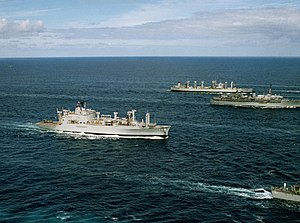 USS Mount Baker (AE-34) with Yosemite (AD-19) and Caloosahatchee (AO-98) 1988.JPEG