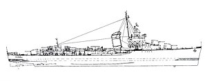 Sims-class destroyer - Image: USS Russell (DD 414) line drawing 1943