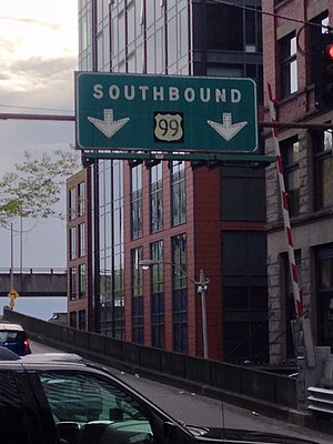U.S. Route 99 - US 99 Sign in Downtown Seattle