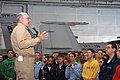 US Navy 040417-N-1522S-041 Admiral Vern Clark, Chief of Naval Operations, addresses crewmembers in the hangar bay aboard USS George Washington (CVN 73).jpg