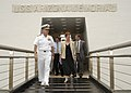 US Navy 040630-N-4995T-150 Commander, U.S. Pacific Fleet, Adm. Walter F. Doran gives South Australia Senator Robert Hill and his wife Mrs. Diana Hill, a tour of the USS Arizona Memorial during their visit to Pearl Harbor.jpg