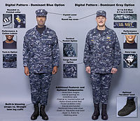 aff13638c3c1d Infographics released by the U.S. Navy in October 2004 detailing the four  possible new prototype NWU-D and NWU-C concept uniforms.