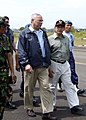 US Navy 050105-N-0057P-171 Secretary of State Colin Powell walks with Indonesian President Susilo Yudhoyono after departing his plane in Banda Aceh, Sumatra, Indonesia.jpg