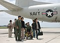 US Navy 050325-N-3122S-002 Lt.j.g. Matt Delgado, left, gives a tour of a P-3C Orion, assigned to the Tigers of Patrol Squadron Eight (VP-8), to Yuma Tanaka and his family during a flight-line tour at Kadena Air Base in Okinawa.jpg