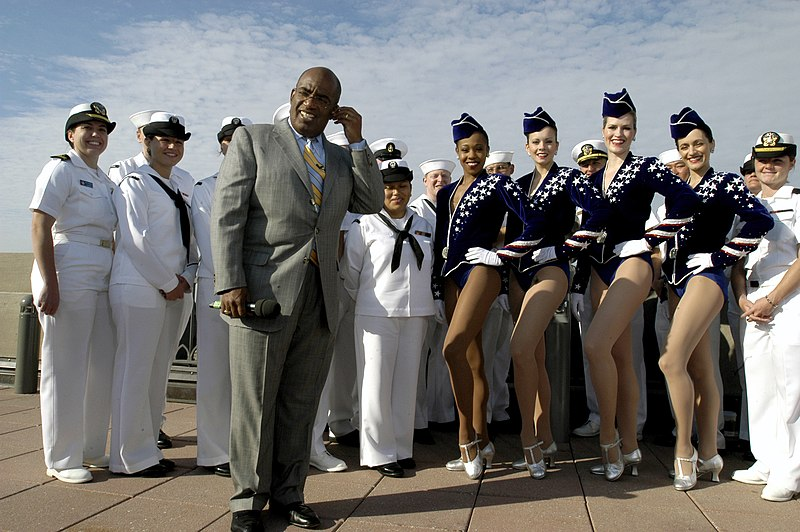 US Navy 060525-N-9640H-004 Television personality and weatherman Al Roker interviews the famous Radio City Rockettes and Sailors assigned to several ships participating in 2006 Fleet Week New York festivities