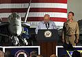 US Navy 070511-N-3729H-129 Vice President Dick Cheney addresses nearly 4,000 Sailors and Marines in the hangar bay aboard Nimitz-class aircraft carrier USS John C. Stennis (CVN 74).jpg