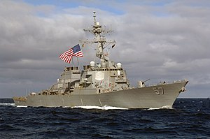 US Navy 070620-N-8861F-054 The guided-missile destroyer USS Mitscher (DDG 57) operates in the Pacific Ocean in support of UNITAS Pacific 2007 which supports Partnership of the Americas (POA) 2007