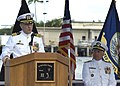 US Navy 070906-N-0995C-004 Capt. Joe E. Tofalo makes his final remarks as commanding officer of Submarine Squadron 3, during a change-of-command ceremony aboard USS Minneapolis-Saint Paul (SSN 708).jpg