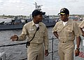 US Navy 080905-N-2248M-037 Lt. Cmdr. Chris Brown, commanding officer of the coastal patrol boat USS Monsoon (PC 4), briefs Vice Adm. Mel Williams Jr., commander, U.S. 2nd Fleet, during his visit to the ship.jpg