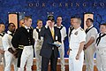 US Navy 090915-N-9824T-141 Lt. Cmdr. Anthony Savage and Rear Adm. Scott Weikert present Richard Seim, senior vice president and president of York Hospital, with a Navy ball cap.jpg