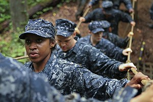 US Navy 110517-N-KE582-005 U.S. Naval Academy plebes navigate an obstacle course during Sea Trials, the capstone training exercise for Naval Academ.jpg