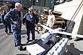 US Navy 110929-N-RC734-079 k Drago, a Scan Eagle technician, center, briefs Rear Adm. Gerard P. Hueber, left, commander of Expeditionary Strike Gro.jpg