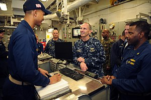 US Navy 120204-N-WL435-303 Chief of Naval Operations (CNO) Adm. Jonathan Greenert talks with Sailors aboard the amphibious assault ship USS Wasp (L.jpg