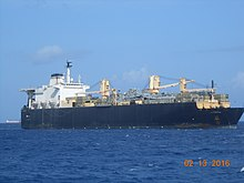 US Navy strategic sealift ship USNS 2nd Lt. John P. Bobo (T-AK-3008) off the coast of Saipan.jpg