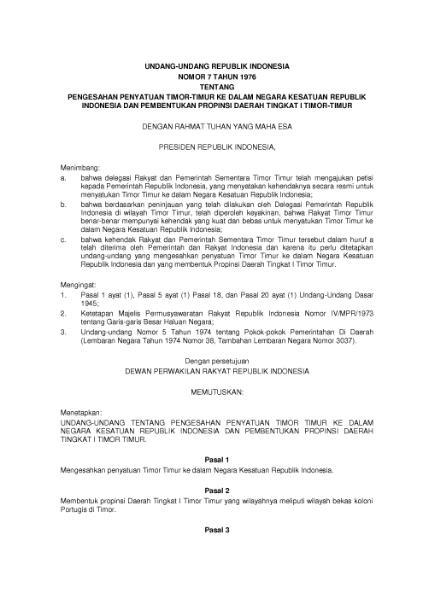 File:Undang-Undang Republik Indonesia Nomor 7 Tahun 1976.djvu