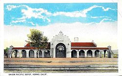 The former Union Pacific depot in the 1920s