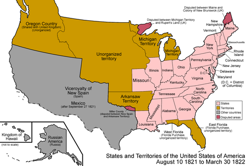 The states and territories of the United States as a result of Missouri's admission as a state on August 10, 1821. The remainder of the former Missouri Territory became unorganized territory. United States 1821-08-1822.png