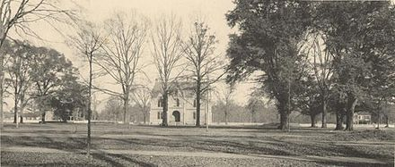 A view of either Tuomey Hall or Oliver-Barnard Hall, one of the first buildings constructed after the university reopened after the Civil War, in 1907 University of Alabama 1907.JPG