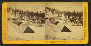Cisco, California - Stereo view of the Cisco Depot from a similar vantage during winter time c. 1869