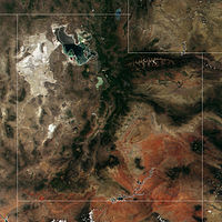 Utah from space. The state is known for its diversity in geology, climate, and ecosystems.