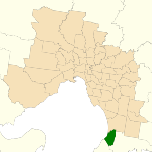 Electoral district of Frankston - Location of Frankston (dark green) in Greater Melbourne