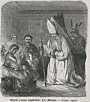 Mikulás - An illustration of Mikulás and Krampusz from 1865