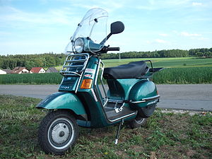 Vespa Cosa - A second generation Vespa Cosa with aftermarket luggage rack and crash bars.