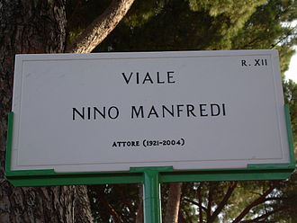 "Nino Manfredi - ""Viale Nino Manfredi"", a street named after him in Rome"