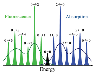 Franck–Condon principle - Figure 2. Schematic representation of the absorption and fluorescence spectra corresponding to the energy diagram in Figure 1. The symmetry is due to the equal shape of the ground and excited state potential wells. The narrow lines can usually only be observed in the spectra of dilute gases. The darker curves represent the inhomogeneous broadening of the same transitions as occurs in liquids and solids. Electronic transitions between the lowest vibrational levels of the electronic states (the 0–0 transition) have the same energy in both absorption and fluorescence.