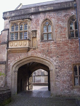 Vicars' Close, Wells - Vicars' hall over gateway leading from Vicars' Close to St.Andrew Street