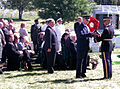 Victims of the Terrorist Attack on the Pentagon Memorial - Gen Myers receives flag - Arlington National Cemetery - 2002-09-12.jpg