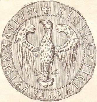 Eagle (heraldry) - An early heraldic eagle in the seal of Vienna (1239)