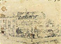 Gravura de van Gogh retratando sua morada em Londres, quando trabalhava para a Goupil & Co.